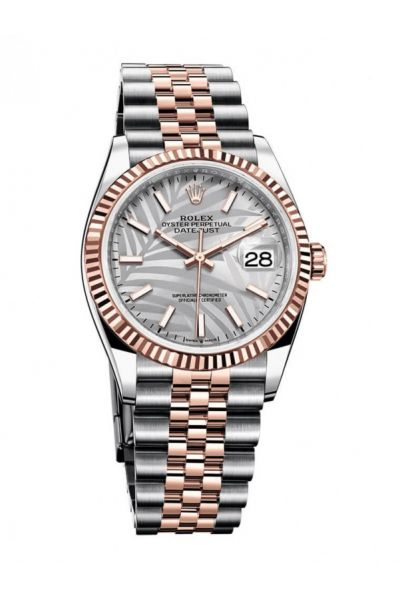 Best Rolex Datejust 36 Rose Gold Fluted Bezel Palm Pattern Silver Dial Women Two-tone Sticks Markers Watch