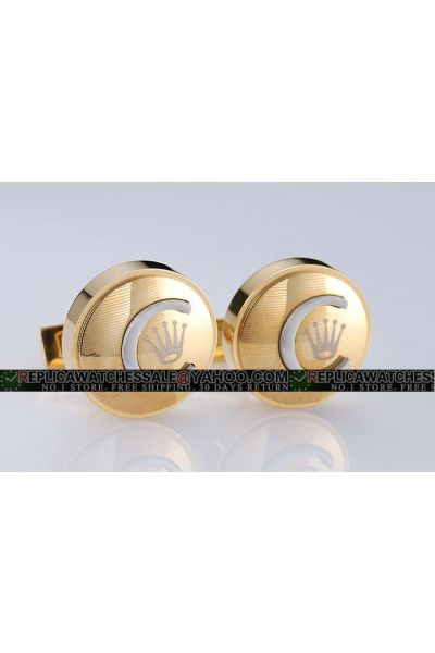 Rolex Classic Round Yellow Gold Cufflinks With Crown For Men Free Delivery