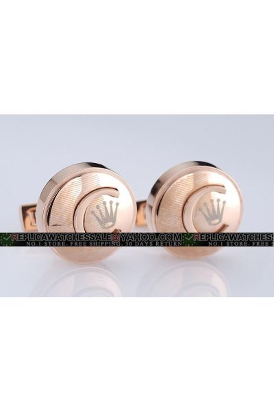 Luxurious Knock-off Rolex Round Rose Gold Cufflinks With Five Silver Fingers Online Sale