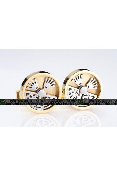 Good Designer Rolex Yellow Gold Plated Round With Silver Rotating Crown Cufflinks Online Sale