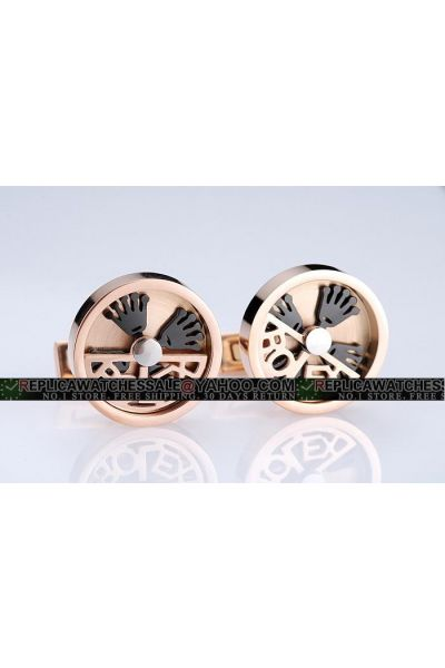Vogue Rolex Round Rose Gold Stainless Steel Cufflinks Unique Design Free Shipping