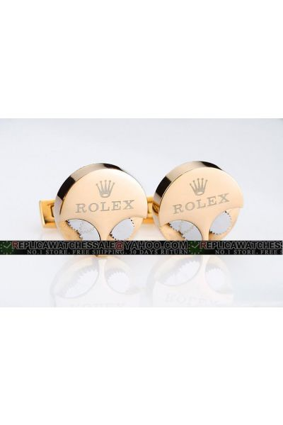 High-Quality Rolex Watch Movement Gears Gold Plated Round Cufflinks For Men RCL001