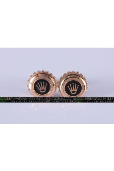 Unique Rolex Rose Gold Gear Cufflinks With Crown for Business Men Great Reviews