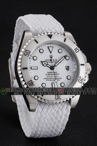 Imitation High-end Rolex Submariner White Ceramic Bezel Stainless Steel Case White Cloth Strap Ladies Date Watch