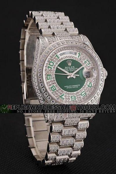 Luxury Rolex Day-date All Diamonds  Phony Swiss Unisex Green Arabic Markers Watch Site
