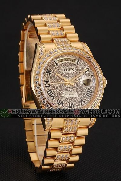 Hot Selling Females Rolex Day-date Black Roman Scale Week Window Yellow Gold Full Diamonds Date Watch