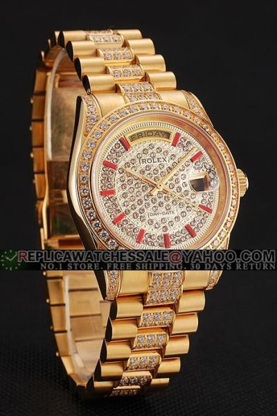 2019 Fashion Rolex Day-date Red Stick Scale Yellow Gold Ladies Full-set Diamonds Week/Date Swiss Watch