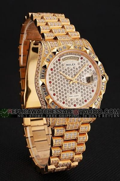Women's Swiss Rolex Day-date Red & White Diamonds Dial Week/Date Display Window Paved Diamonds Yellow Gold Watch  Ref.69198