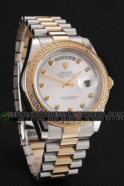 Rolex Day-date Full-set Rhinestone Bezel Diamond Index 2-Tone SS Bracelet Business Swiss Watch Ref.18948-72748TRIDOR-8R2B