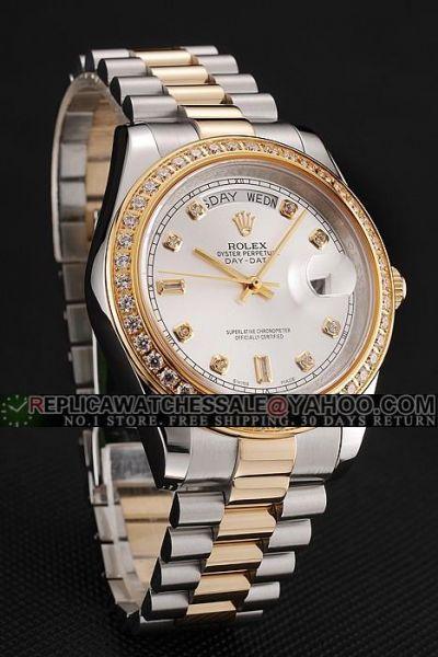 Rolex Day-date Diamonds -sund Bezel Gold Stick Hands Two-tone Wristabnd Swiss Unisex Watch