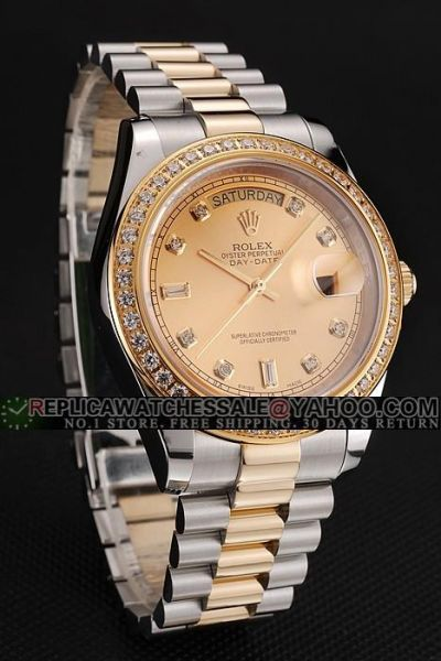 Rolex Day-date Yellow Gold Dial Full-set Rhinestone Bezel Diamond Markers Two-tone Bracelet Swiss Unisex Wedding Gift