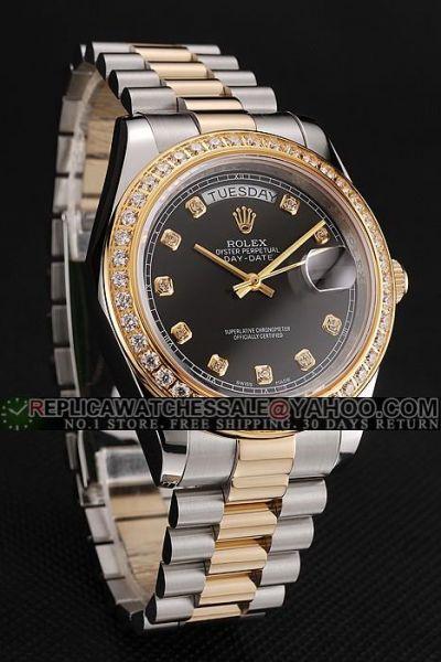 Rolex Day-date 2-tone Wristband Diamonds Bezel Gold Pointer Swiss Watch For Him