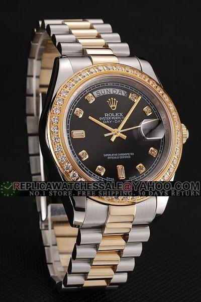 Faux Rolex Day-date  Diamonds Markers Rhinestone-stud Bezel Black Face Two-tone Steel Bracelet Unisex Watch