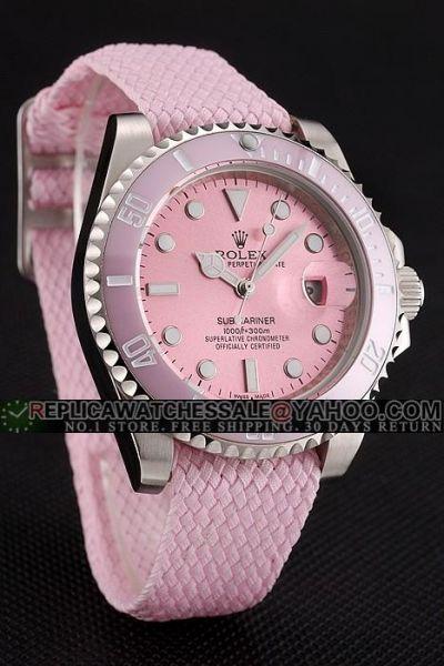 Rolex Submariner Sweet Pink Dial/Ceramic Bezel/ Woven Nylon Strap SS Case Swiss Watch For Girls Replica