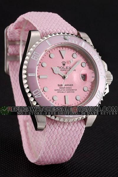 Women's Rolex Submariner Ceramic Dive Bezel SS Case Cloth Strap Mercedes Hands Pink Date Watch Replica