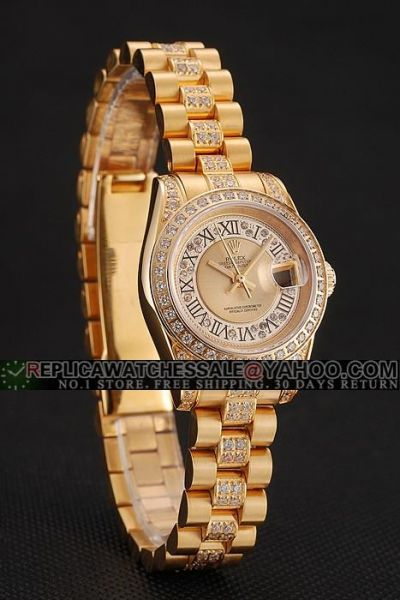 Cheap Rolex Datejust Roman Scale Diamonds Bezel/Dial/Bracelet Females Yellow Good Fake Date Watch 1453953