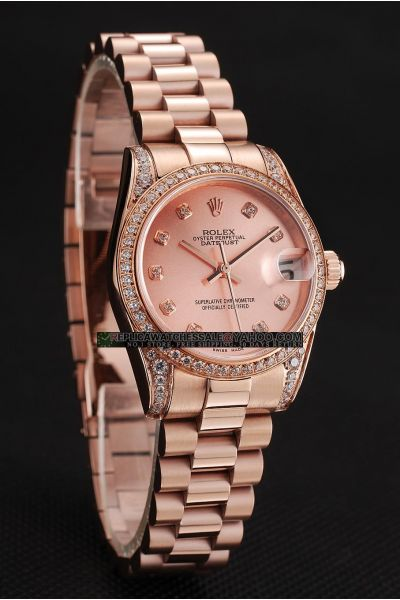 Unisex Rolex Datejust High Quality Presidential Bracelet Convex Lens Date Window Rose Gold Diamonds Swiss Watch Replica