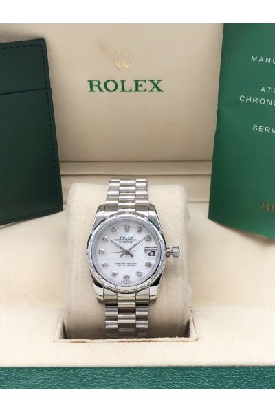 Fashion Rolex Oyster Perpetual Datejust 31 White Dial Diamonds Marker & Bezel Female President Stainless Steel Faux Watch