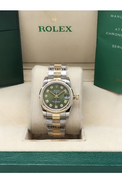 2021 Popular Rolex Domed Bezel Mint Green Dial Diamonds Markers Oyster Bracelet Two-tone Watch For Ladies 278343RBR