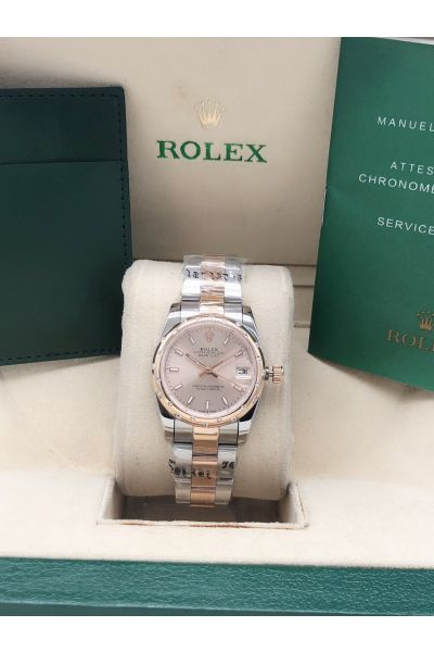 2021 Fashion Rolex Datejust 31 Two-tone Oyster Bracelet Rose Gold Face Sticks Markers Lady Diamonds Watch 278341RBR