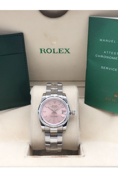 Celebrity Same Rolex Datejust Pink Face Diamonds Domed Bezel Women Stainless Steel Oyster Perpetual Faux Watch