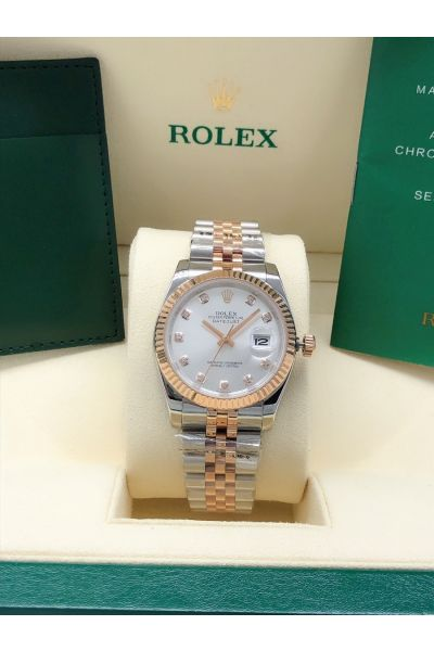 High Quality Rolex Datejust 36 Rose Gold Fluted Bezel Diamonds Markers White Face Women Two-tone Date Watch