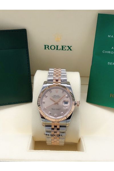 Rolex Datejust 36 Luxury Diamonds Markers Rose Gold Dial Fluted Bezel Female Two-tone Date Watch Replica