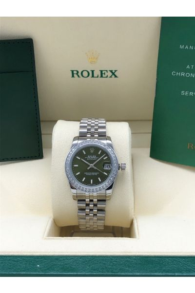 Top Selling Rolex Datejust 31 Paved Diamonds Bezel Mint Green Face Baton Marker White Gold Watch For Ladies 278384RBR