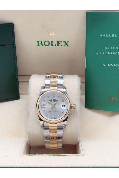 Hot Selling Rolex Datejust 31MM Silver Dail Gold Bezel Start Diamonds Index Women Two-tone Automatic Watch