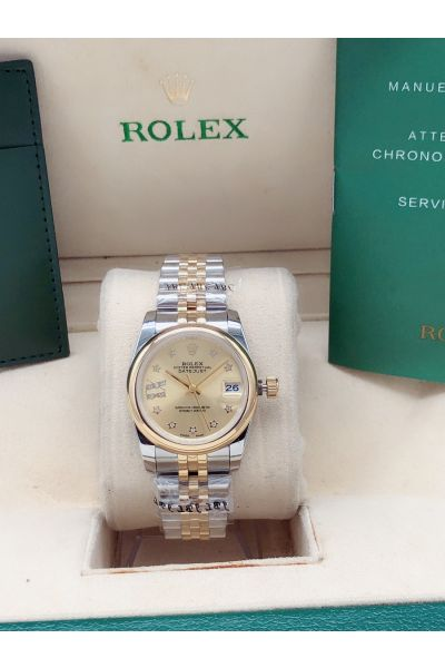 Low Price Rolex Datejust Gold Dial & Bezel Start Style Diamonds Scales Lady Two-tone Jubille Watch Replica