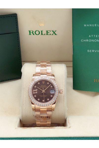 High End Rolex Datejust 31mm Paved Diamonds Bezel Start Markers Women Brown Dial Rose Gold Watch