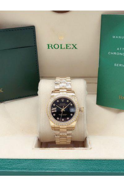 Cheapest Rolex Datejust Black Dial Diamonds Scales & Bezel Women Yellow Gold 31mm Start Motif Watch