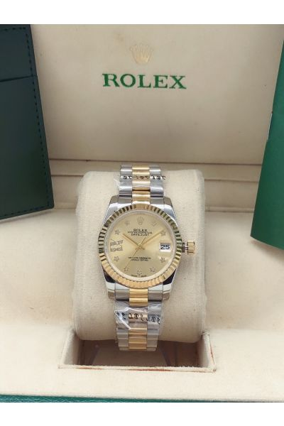 Rolex New Design Datejust 31MM Gold Dial Fluted Bezel Star Motif Two-tone Diamonds Watch For Ladies