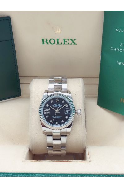 Simple Design Rolex Datejust Stainless Steel Black Face Fluted Bezel Women 31MM Star Markers Automatic Watch