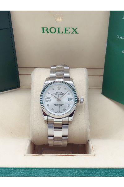 Replica 2021 Popular Rolex Datejust 31MM Silver Dial Star/Roman/Diamonds Design Markers 316 SS Lady Watch