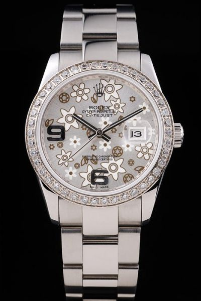 Unisex Rolex Datejust Diamonds Bezel Brown Flower Pattern Dial Stainless Steel Arabic Marker Bracelet Watch