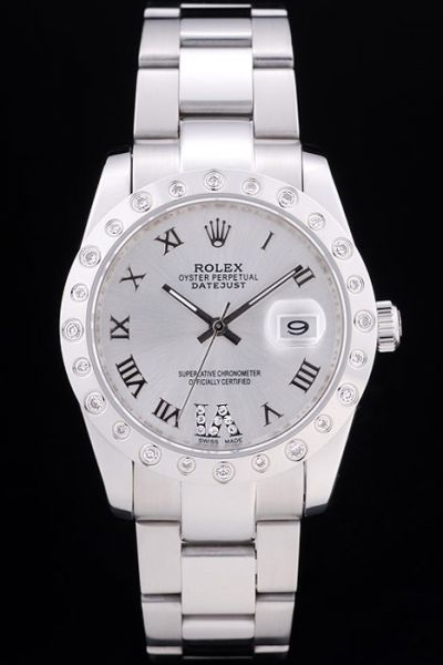 Couples Rolex Datejust Rhinestone-stud Bezel All Silver Faux Watch Review Shop
