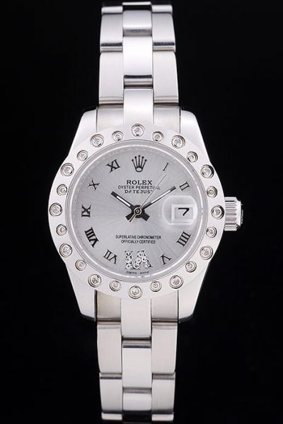 Rolex Datejust Diamond-stud Bezel Silvery Steel Bracelet Bold Roman Scale Female Watch Ref.80319