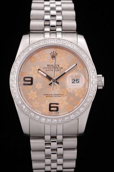 Unique Style Rolex Datejust Diamonds Bezel Orange Flower Pattern Dial Luxury Stainless Steel Watch For Lover