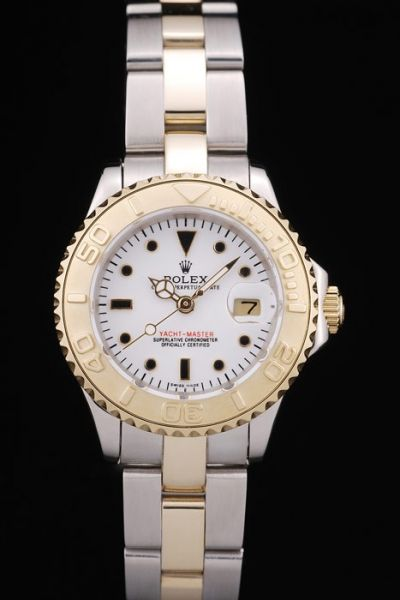 Rolex Yachtmaster Two-tone Bracelet Yellow Gold Diver's Bezel Black Dots Marker Ladies 29MM Auto Date Watch