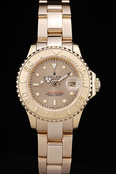 Unique Style Rolex Yachtmaster Diver's Bezel Convex Lens Date Window All Yellow Gold Auto Female Watch Ref.169623