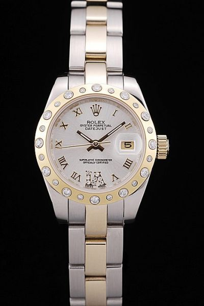 Luxury Rolex Datejust Oyster Perpetual Diamonds Bezel Roman Marker Two-tone Bracelet Ladies Automatic Timepiece Date Watch