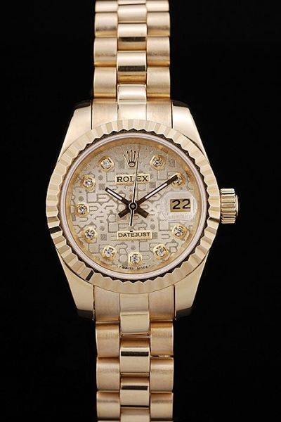 High-Quality Rolex Datejust Embossed Pattern Dial Diamond Scale Yellow Gold Plated Women Watch Free Delivery