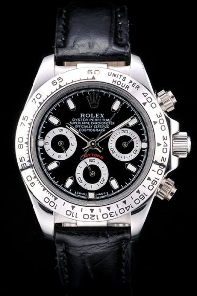 Rolex Daytona Black Dial & Strap SS Case Tachymeter Bezel Mens Stick Marker Chronograph Watch Online