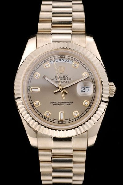 Unisex Rolex Day-date Diamonds Scales Fluted Bezel Week & Date Display Window All Yellow Gold Fake Watch
