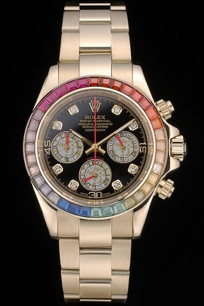 2018 Fashion Rolex Daytona Diamonds Scale Three Sub-dial Colorful Diamonds Bezel Mens Golden Swiss Fake Watch