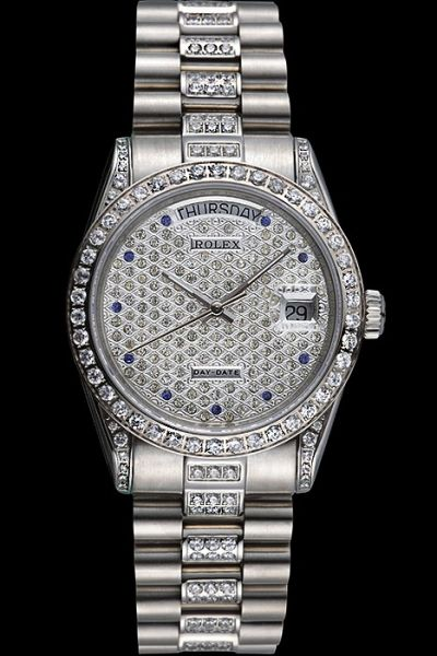 Good Quality Rolex Day-date Week/Date Window Sapphire Marker Stainless Steel Bracelet Ladies Diamonds Watch Ref.218399-83219