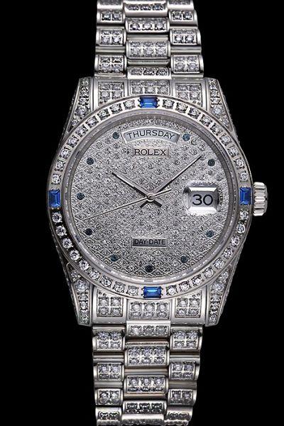 Full-set Diamonds Womens Rolex Daydate Sapphire Bezel Silver Stainless Steel Swiss Week/Date Fake WatchFake Swiss Rolex Day-date Full Diamons Case/Bezel/Dial/Bracelet Sapphires Hour Scale Sliver Pointers Week Date SS Lady Watch