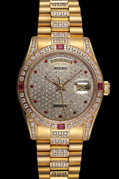 Luxury Rolex Daydate Ruby Scale Full-set Diamonds Week Display Window Yellow Gold Swiss Watch Online