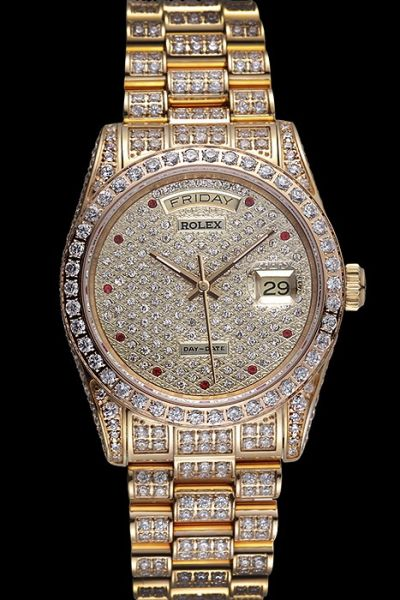 Rolex Swiss Daydate Diamonds Dial/Bezel/Bracelet Rubies Marker Yellow Gold Date Watch For Womens